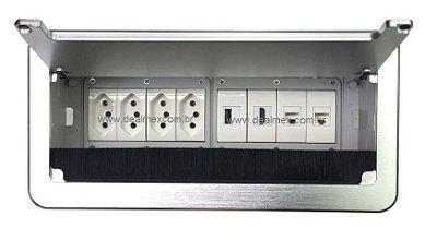 Painel De Tomadas Para Mesas + Conexões Multimidia - QM26-M12