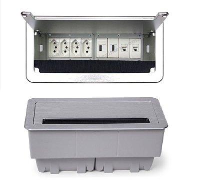 Caixa De Tomadas Para Mesas De Reuniões + Conexões Multimídia - QM26-M59