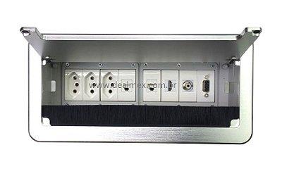 Caixa De Tomadas Para Mesas + Conexões Multimidia - QM26-M15