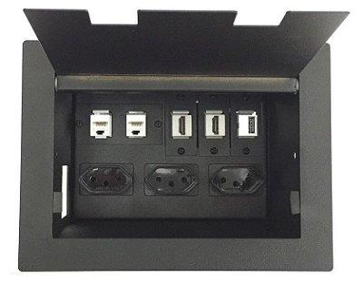 Caixa De Conexões Para Mesas De Reuniões DMEX02-M7 - Completa