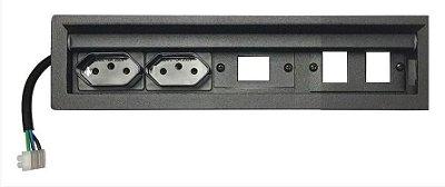 Caixa de Tomadas SLIM-200D + Posições para Keystones