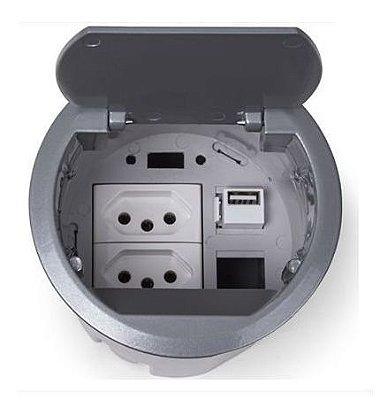 Painel De Mesa Redonda 2 tomadas 1 USB Charger 5V 2.1A
