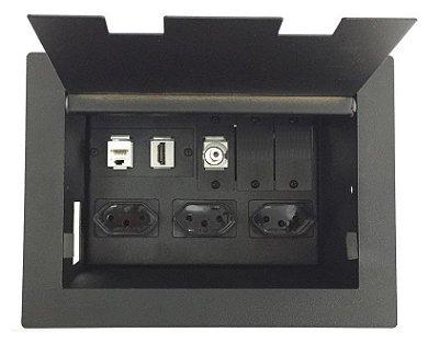 Painel De Mesa Com 3 tomadas 1 RJ45, 1 HDMI, 1 P2