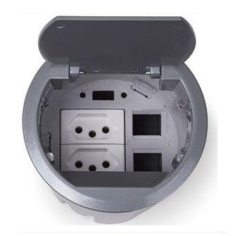 Caixa de Mesa Multy Compacta Em Alumínio 2 Tomadas - M6