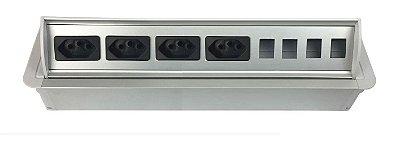 Caixa De Tomada SLIM-AW4T Com 4 Tomadas + Posições RJ45