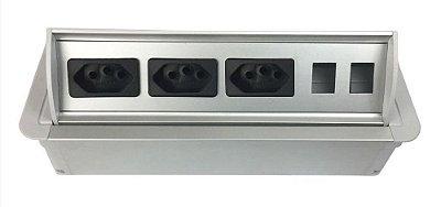 Caixa De Tomada SLIM-AW3T Com 3 Tomadas + Posições RJ45