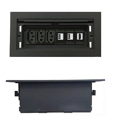 Tomada Para Mesa Com HDMI + Carregador USB 2.1A - QMF6-M22