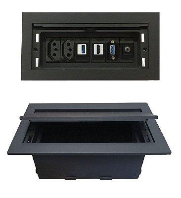 Caixa de Tomadas Com Multiconexões Para Mesas - QMF6-M24