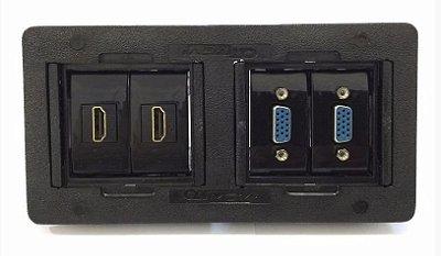 Caixa Painel Para Mesa Em ABS Com 2 HDMI, 2 VGA - QMF4-M15