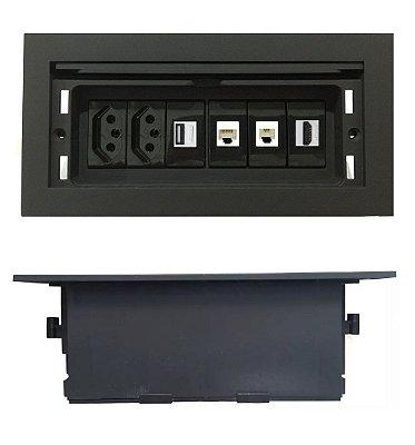 Painel De Mesa Com Multi Conexões Para Mesas de Reuniões - QMF6-M40