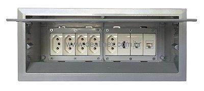 Caixa de Conexões Para Mesas de Reuniões Alum.- QM175-M13