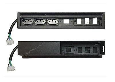 Caixa De Tomada 10A Para Embutir Em Mesas - SLIM-300M