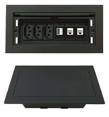 Tomada Para Embutir Na Mesa, Rede e Carregador USB - QMF6-M34