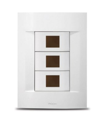 Conjunto Espelho 4x2 Placa + Suporte Com 3 Blocos Para Keystones - SH12