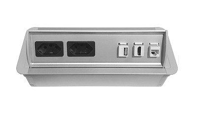Tomada Para Mesas De Reunião Em Alumínio SLIM-AW2T-M4 Completa