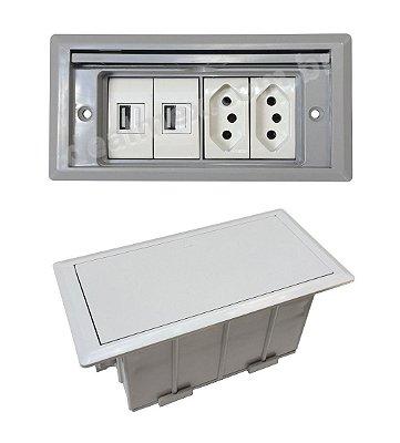 Tomada Para Embutir Em Mesas, 2 Tomadas, 2 USB Carregador - QMF5-M2