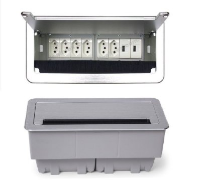 Caixa De Tomadas Para Mesas De Reuniões + USB Charger 2100mA - QM26-M46