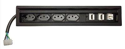 Caixa De Tomadas Para Embutir Em Mesas - SLIM-304D