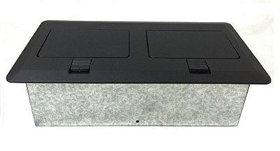 Painel Caixa De Mesa Montada Com 3 Tomadas 1 Hdmi 2 RJ45