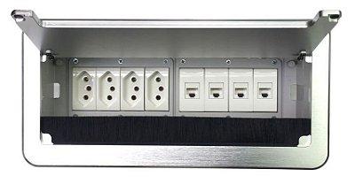 Caixa De Tomadas Para Mesas + Conexões Para Rede Cat5 - QM26-M2