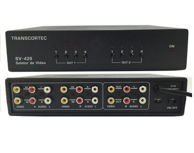 Switch Matriz De Video Rca 4x2 Com Audio L-R Seleção Manual