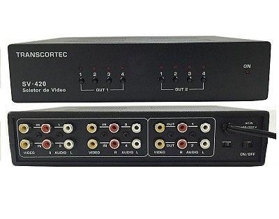Switch Matriz De Video Rca 4x2 Com Audio L-R Seleção Manual