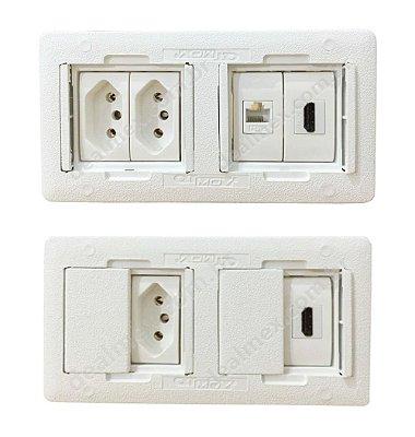 Caixa De Tomada Em ABS Completa, HDMI e Rede - QMF4-M2