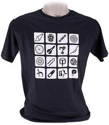 Camiseta 100% Algodão Bike Parts - Preto