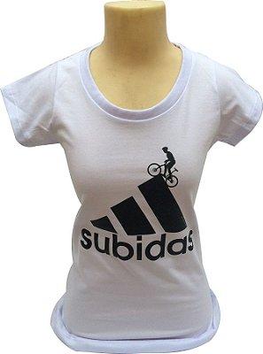 FEMININA Camiseta 100% Algodão Subidas - Branca