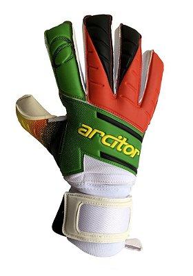 Luvas de Goleiro Arcitor Volka Negative Finger Protection Extended (Verde Vermelho Amarelo) SCF Elite