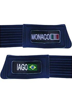 Personalização de luvas de goleiro em bordado (dois nomes e bandeira de país)