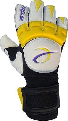 Luvas de Goleiro Arcitor Keras EVA Hybrid Roll/Flat (Branco Amarelo Roxo) AW Elite