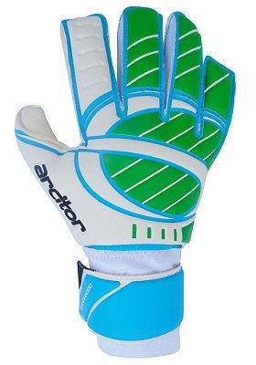 Luvas de Goleiro Arcitor Stockwood Hybrid Roll/Flat (Verde Azul Branco) SCF Elite