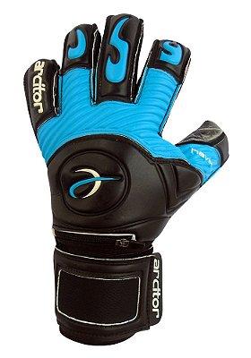 Luvas de Goleiro Arcitor Havik Hybrid Finger Protection (Preto Azul) Extended SCF Elite