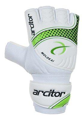 Luvas de Goleiro Arcitor Molokai Futsal (Branco Verde) D-SOFT