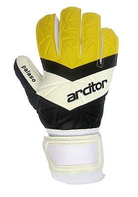 Luvas de Goleiro Arcitor Palaso SEMIPRO Flat (Preto Branco Amarelo) D-SOFT Basic