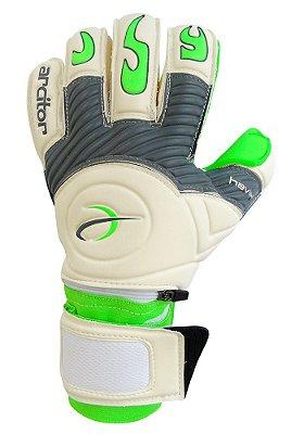 Luvas de Goleiro Arcitor Havik Hybrid Finger Protection (Branco Cinza Verde) Extended AP PRO Verde