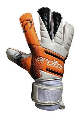 Luvas de Goleiro Arcitor Volka Flat Finger Protection Semipro (Laranja Branco Preto) D-SOFT