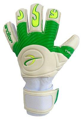 Luvas de Goleiro Arcitor Havik Negative Finger Protection Semipro (Branco Verde e Verde-Limão) D-SOFT