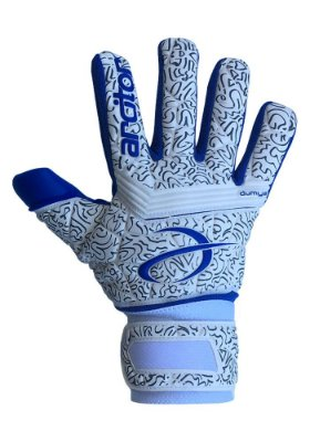 Luvas de Goleiro Arcitor Dumyat Negative Finger Support (Branco Azul Royal) D-SOFT 3.5mm