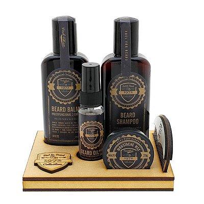 Kit para barba Essencial com suporte em madeira