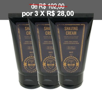 KIT 3 Cremes de Barbear Shaving Cream FUEL4MEN
