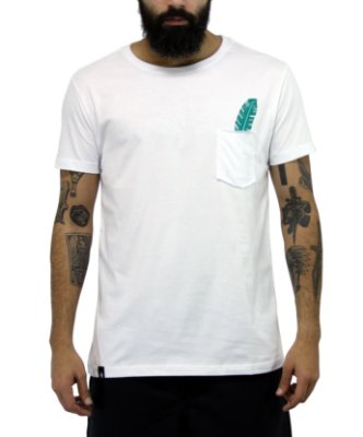 Camiseta Masculina Branca Bolso White Pinna