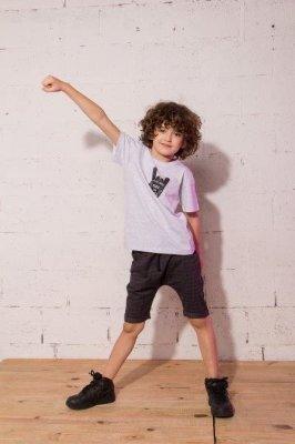 Camiseta It´s all about Rock and Games Mescla - Infantil