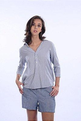 Short Alfaiataria em linho jeans
