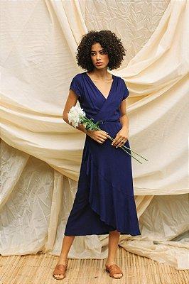 Vestido Transpassado Azul Marinho