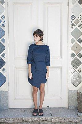 Vestido Envelope azul marinho