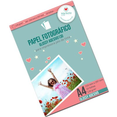Papel fotográfico adesivo glossy 130g pacote com 10 folhas