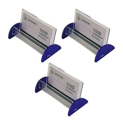 Porta cartão de visita de acrílico azul - 3 peças