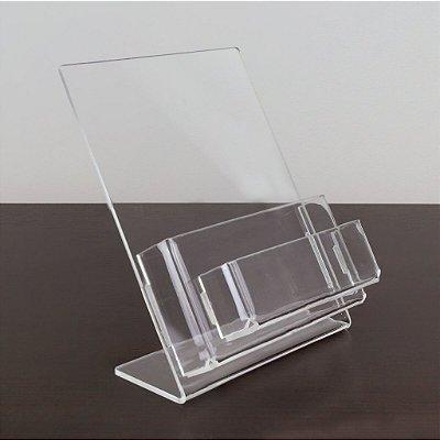 Porta folder A6 vertical com porta cartões
